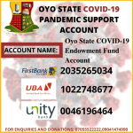 Oyo State Needs your Support towards the Covid-19 Pandemic
